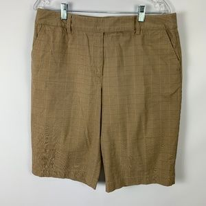 Talbots Sz 14 Bermuda Shorts Career Tan Plaid